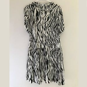 & Other Stories Black White Zip Dress Zebra Print